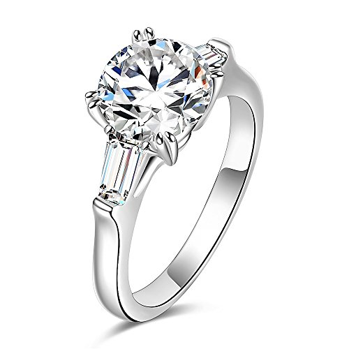 espere Sterling Silver 2 Carat CZ Baguette Round Solitaire Engagement Ring Bridal Wedding Jewelry ()