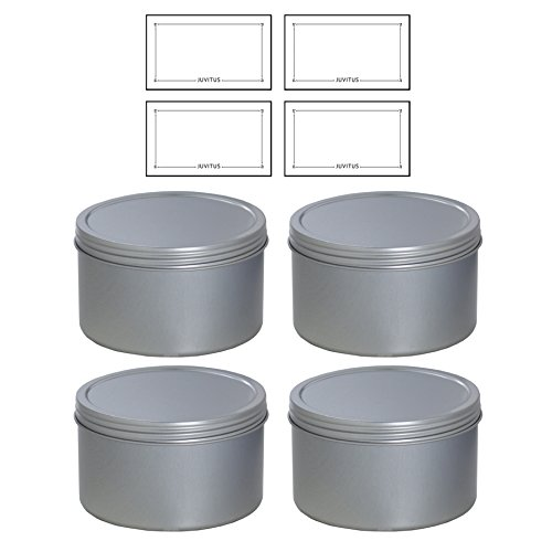 (Silver Deep Metal Tin Containers with Screwtop Twist Lids 16 oz (4 Pack) + Labels)