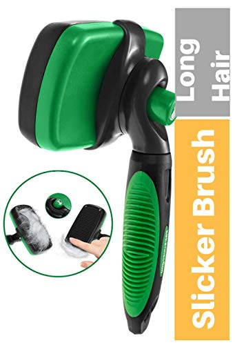 SLICKER BRUSH FOR DOGS AND CATS | Self Cleaning Professional Pet Grooming Tool | Removes Hair Undercoat & Loose Fur | Reduces Knots, Mats and Tangles | Best for Small, Medium and Large Dog