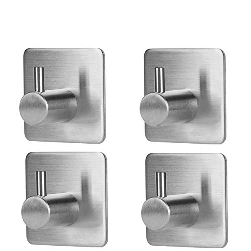 Wall Hooks 4 packs,SAGEME Adhesive Hook Heavy Duty Sticky Wall Hooks Wall Hangers Stick on Hooks 304 Stainless Steel Closets, Coat, Hat,Towel Robe Hook Rack Wall Mount for Bathroom and Bedroom