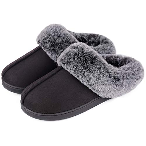 Women's Classic Suede Memory Foam Slippers Anti-Skid Scuff with Warm Faux Fur Collar (5-6 M, Black) (Average Shoe Size For 5 5 Woman)