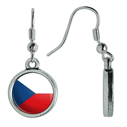 Czech National Costumes - Novelty Dangling Drop Charm Earrings Country National Flag A-C - Czech Republic National Country Flag