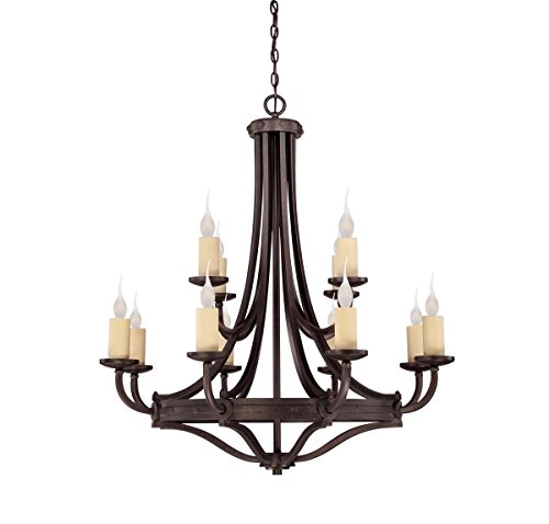 Elba 12 Light - Savoy House 1-2013-12-05 Elba 12 Light Chandelier with No Shades, Oiled Copper Finish