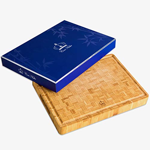 Bamboo Cutting Boards for Kitchen, Large, Multipurpose, 15x12x1¾' - Chopping & Carving Board with Handles - Thick, Durable, Reversible - Butcher Block and Cheese, Charcuterie, Meat Server - Gift Boxed