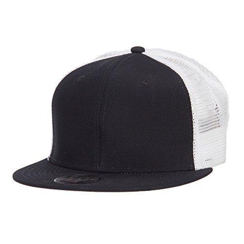 Mesh Premium Snapback Flat Bill Cap - White Black OSFM