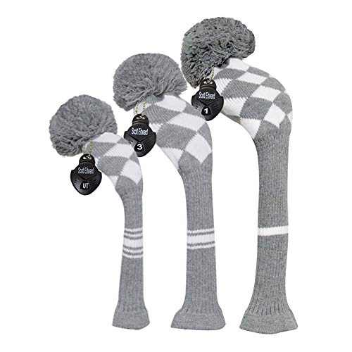 Scott Edward Warm Winter Style Grey/white Argyle Golf Pom Pom Headcover, Long Neck, Set of 3 for Driver(460cc), Fairway Wood, Hybrid, Rotating Number Tags, Personalized Golf Accessories