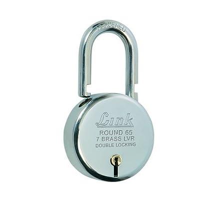 Link L65-LRPL-65 Brass Bcp Door Padlock Round Bright, 65 mm (Silver)