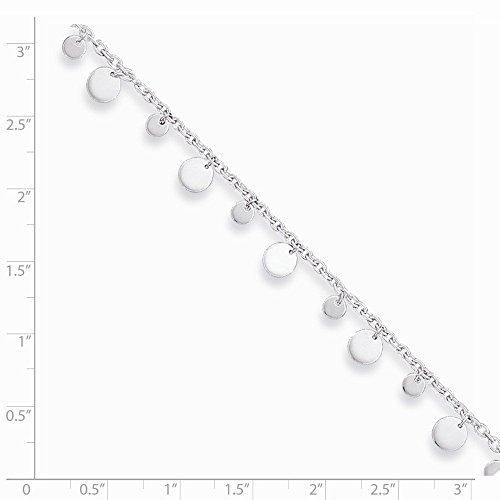 PriceRock Sterling Argent Pendentif Cercle et Coeur Cheville 25,4cm
