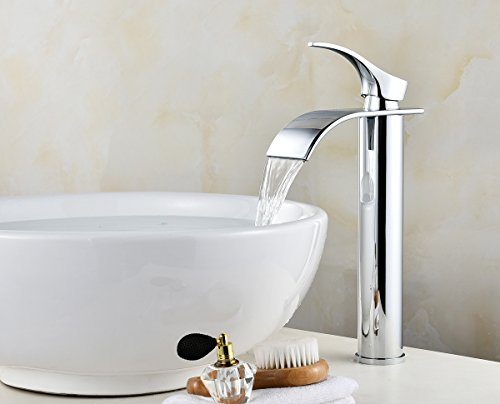(12'' Waterfall Bathroom Sink Faucet Single Handle One Hole Bathroom Lavatory Vessel Faucet Basin Mixer Tap Chrome Finish)