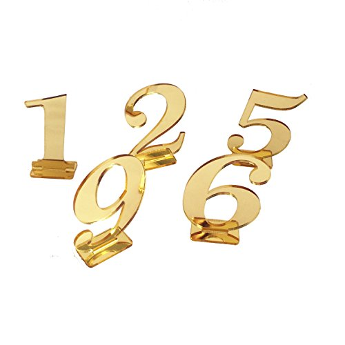 iEventStar Mirror Gold Table Number with Holder Base for Wedding Events (1-10) ()