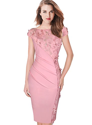 Vfemage Womens Elegant Embroidery Ruched Party Evening Bodycon Dress 7422 PIK S
