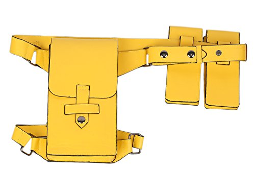 xcoser Badgirl Belt Yellow Deluxe PU Holster Pouches Cosplay Costume Accessory