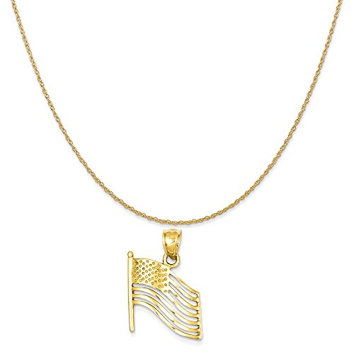 14k Yellow Gold American Flag (14k Yellow Gold American Flag Pendant on a 14K Yellow Gold Rope Chain Necklace, 20