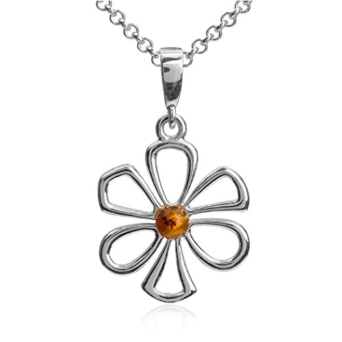 Sterling Silver Amber Flower Daisy Pendant Necklace Chain 18 (Big Sky Silver Jewelry)