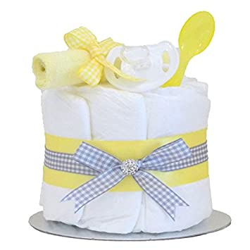 Small yellow and grey baby shower nappy cake unisex boy girl new small yellow and grey baby shower nappy cake unisex boy girl new born gift birth hamper negle Images