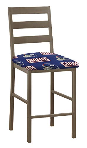 """- 1 - Solid Metal 24"""" Tall Cocoa Brown Dining/Bar Stool Featuring the Choice of Your Favorite Football Team Logo Fabric Covered Seat Cushion (Giants)"""