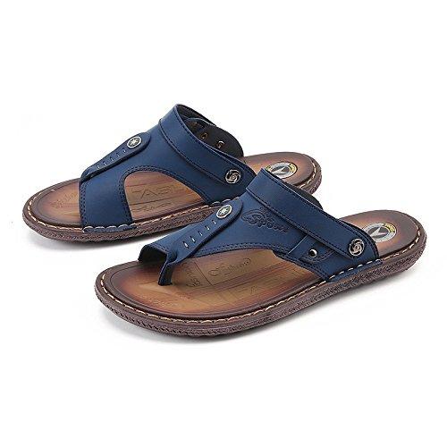 Sommer Rutschfeste Flip Flops Mode Doppel-Sandalen im Freien Einzel Männer Sandalen, blau, UK = 9,5, EU = 44