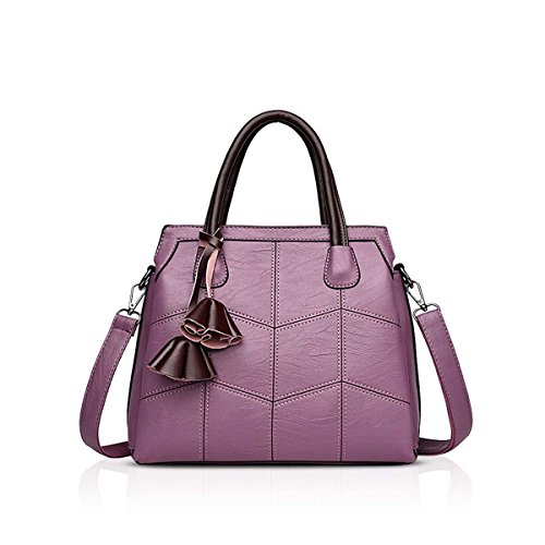 B Blue Atmosphere Handbags for Shoulder amp;DORIS Bag Simple Leather Handbag Trendy New Female Female Handbags Woman Citron Fashion Bag NICOLE Purple OR84TnO