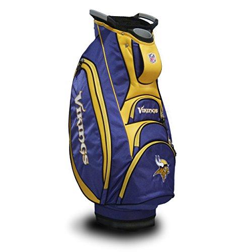 Team Golf NFL Minnesota Vikings Victory Golf Cart Bag, 10-way Top with Integrated Dual Handle & External Putter Well, Cooler Pocket, Padded Strap, Umbrella Holder & Removable Rain Hood