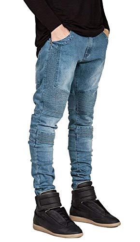Vintage Distrutti Anch'essi Slim Da Vestibilità Uomo Pantaloni Motociclista Fit Jeans Ragazzi Casual Classiche Blau vHaYS