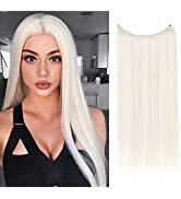 SARLA Short Halo Hair Extensions Platinum Blonde Straight Synthetic Hairpieces 14 Inch 3.2 Oz Hid...