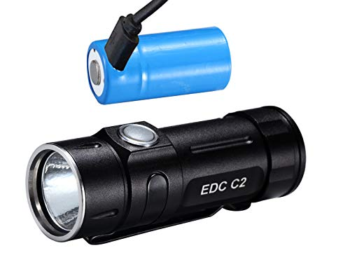 FOLOMOV EDC C2,(High CRI>98) 400 Lumens EDC Flashlight with USB Rechargeable Battery and Magnetic Tail Cap, 3/5 AA Size