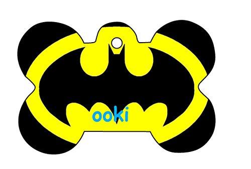 (Batman Retro Logo Dog Pet Cat ID Tag Bone Shape Engraved Personalized Key Ring )