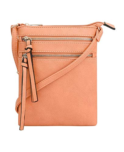 Strap Zipper Detachable (DELUXITY | Crossbody Wristlet Bag | Functional Multi Pocket Double Zipper Purse | Adjustable & Detachable Strap | Medium Size Purse | Mandarin)