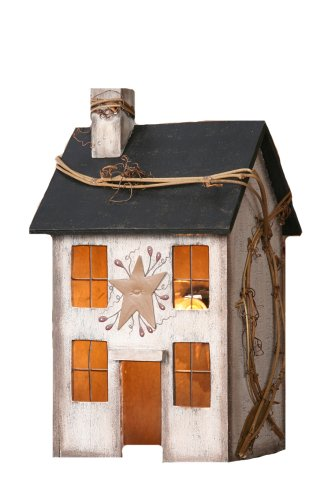 Your Heart's Delight Primitive Home Electric Light, 5 by 9 by 4-Inch, Small, Whitewashed