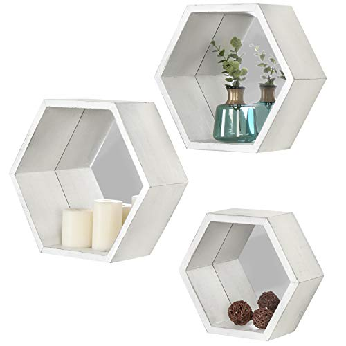 MyGift Vintage White Hexagon Wall-Mounted Floating Shelves with Mirrored Backing, Set of 3