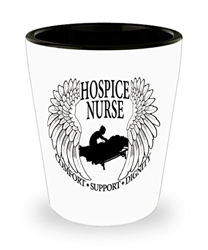 Hospice Nurse Shot Glass - Comfort Support Dignity Nursing Gift - Angel Wings Caretaker Pill Cup Toothpick Holder