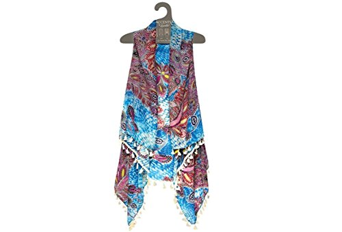 Lavello Sheer Designer Vest, Turquoise/Crewel, One Size from Lavello