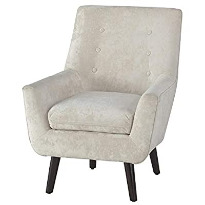 35.63 in. Accent Chair in Ivory - Corner-blocked frame Upholstered in a solid crushed ivory poly velvet Attached back and loose seat cushions - living-room-furniture, living-room, accent-chairs - 41a8CjPL9zL. SS400  -