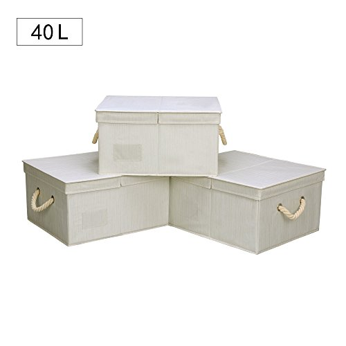 40 L,Canvas Storage Box with Lid and Strong Cotton Rope Handle By StorageWorks, Foldable Closet Organizer, White, Bamboo Style, Jumbo, 3-Pack (3 Canvas Storage Boxes)
