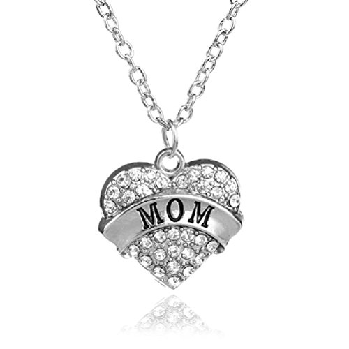 tal Silver Tone Chain Fashion Family Love Heart Necklace - Mom ()