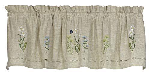Daisies Snap - Snapshots Daisy Embroidered Curtain Valance, 58