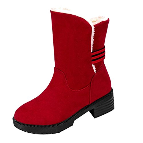 Colorful TM New Fashion Women's Boots Winter Warm Boots Ankle Boots Warm Winter Shoes Red