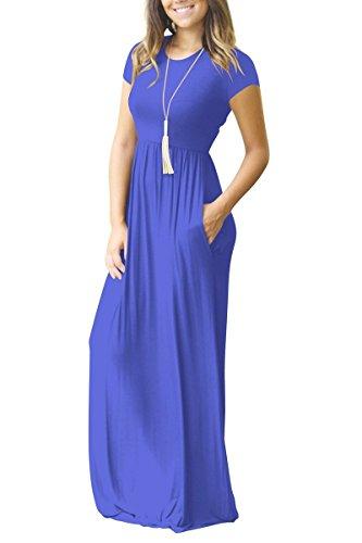 con Mujer para Rojeam Llanura y Blue de Casual de Manga Larga Corta Lisa Suelta Bolsillos Vestido FxF6fqwP