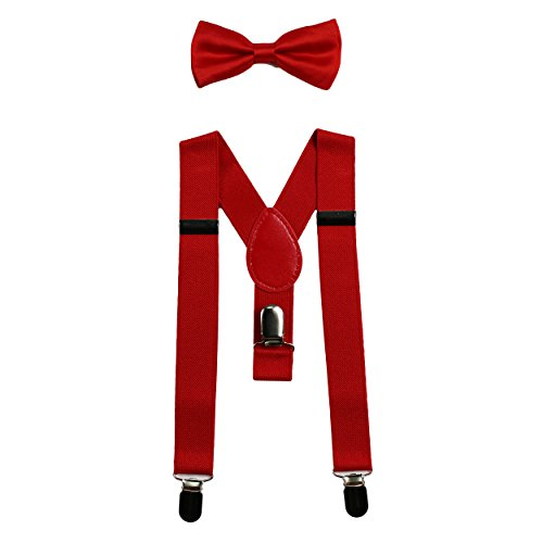 Baby Suspenders and Bow Tie Set (Elastic Adjustable-Fits Baby to Toddler) (Red)