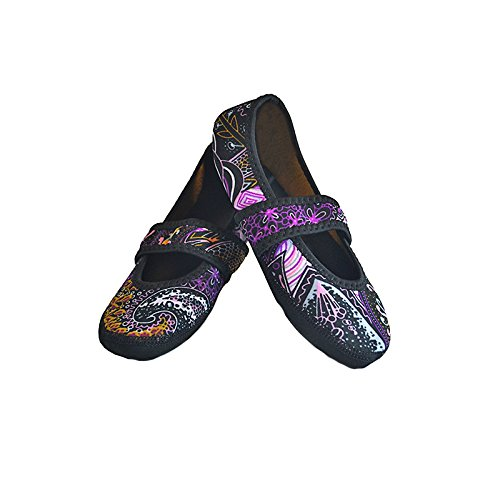 Shoes Slippers Paisley Lou Nufoot Indoor Slipper Flexible Socks Best Women's Betsy Dance Slippers Yoga House Medium Flats Foldable amp; Black Travel Exercise qtSnw17Sx