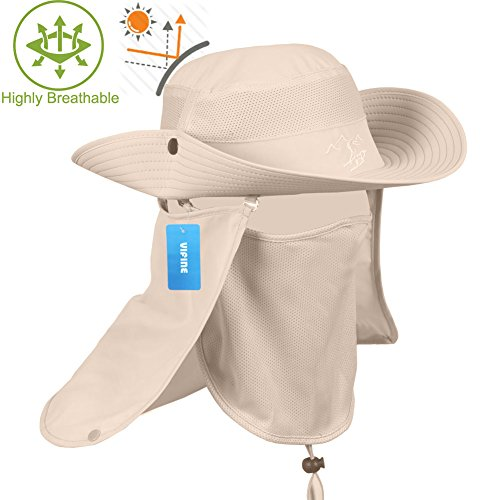 VIFINE Sun Cap Fishing Hat for Men Women, Sun Hat Wide Brim, Sun Protection with Removable Neck Flap, Face Cover Mask, Military Boonie Hat for Outdoor Sports & Travel ()
