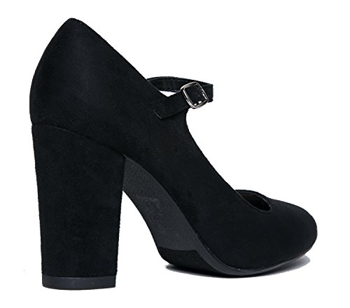 Black Pumps Toe Skippy Jane Heels Cute Suede Comfortable Round Chunky Block Adams Mary J C17BWn