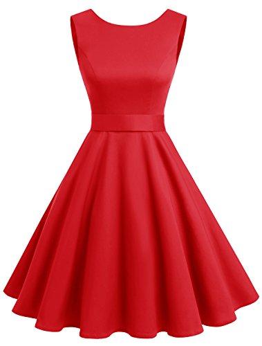 Wedtrend Women's Rockabilly 1950s Audrey Dress Polka Dots Retro Cocktail Swing Dress WTP10005RedL