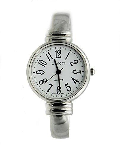 (Women's Classic Silver Tone Easy Read Bangle cuff Watch)