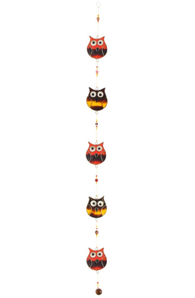 Sun Catcher String Of 5 Coloured Owls Sun Catcher Home Gift Garden