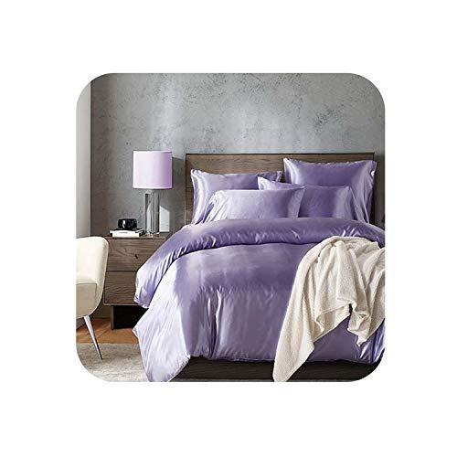 Pure Satin Silk Bedding Set,Home Textile King Size Bed Set,Bedclothes,Queen Size Duvet Cover Pillowcases Bedding Set,Purple,Ru Europe