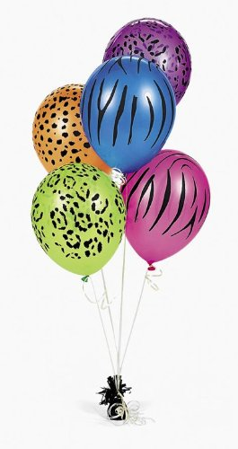 Animal Print Neon Balloons - 50 pc