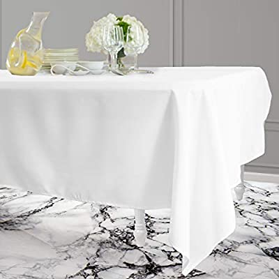 Kadut Rectangle Tablecloth (60 x 126 Inch) White Rectangular Tablecloth for 8 Foot Table | Heavy Duty Washable Table Cloth for Dinner, Parties, Weddings, | Wrinkle-Resistant Dining Table Cover - ☑️ EYE-CATCHING ACCESSORY TO ELEVATE ANY MEAL - Upgrade your kitchen table, dining room table, or buffet table with this stunning White rectangle tablecloth. The White tablecloth is made from smooth, thick hydraulic-loomed polyester that won't snag easily. ☑️ STAINS AND WRINKLES ARE NEVER A CONCERN - If you find yourself using disposable tablecloths instead of fabric table cloths because you hate wrinkles and stains, then this one is exactly what you need. The heavy-duty material is 100% stain and wrinkle resistant. ☑️ VERSATILE TABLECLOTH FOR RECTANGULAR TABLES. Seamless 60 x 126-inch multi-use table cover made from 100% polyester fabric. Great choice for Weddings, Birthday Party, Baby Shower, Food Buffet, Banquet, Thanksgiving and Christmas Dinner. - tablecloths, kitchen-dining-room-table-linens, kitchen-dining-room - 41a8F3WhQBL. SS400  -