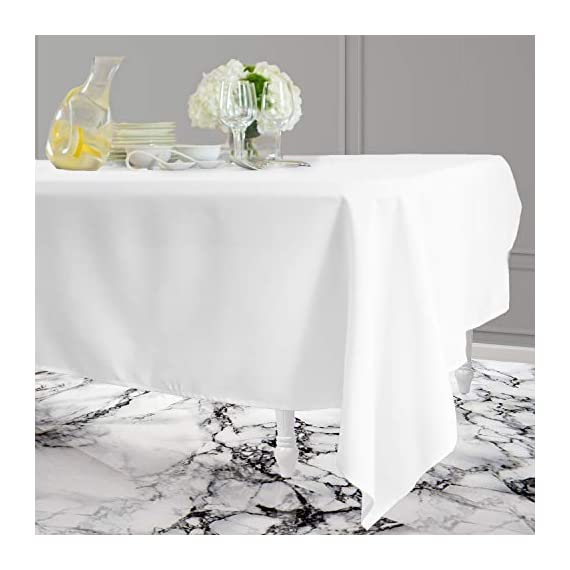 Kadut Rectangle Tablecloth (60 x 126 Inch) White Rectangular Tablecloth for 8 Foot Table | Heavy Duty Washable Table Cloth for Dinner, Parties, Weddings, | Wrinkle-Resistant Dining Table Cover - ☑️ EYE-CATCHING ACCESSORY TO ELEVATE ANY MEAL - Upgrade your kitchen table, dining room table, or buffet table with this stunning White rectangle tablecloth. The White tablecloth is made from smooth, thick hydraulic-loomed polyester that won't snag easily. ☑️ STAINS AND WRINKLES ARE NEVER A CONCERN - If you find yourself using disposable tablecloths instead of fabric table cloths because you hate wrinkles and stains, then this one is exactly what you need. The heavy-duty material is 100% stain and wrinkle resistant. ☑️ VERSATILE TABLECLOTH FOR RECTANGULAR TABLES. Seamless 60 x 126-inch multi-use table cover made from 100% polyester fabric. Great choice for Weddings, Birthday Party, Baby Shower, Food Buffet, Banquet, Thanksgiving and Christmas Dinner. - tablecloths, kitchen-dining-room-table-linens, kitchen-dining-room - 41a8F3WhQBL. SS570  -