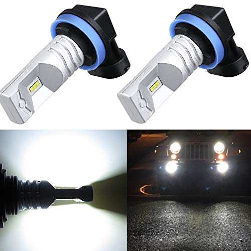 Alla Lighting Xtremely Super Bright H8 H16 H11 LED Fog Light Bulbs High Power CSP SMD H16 H8 H11 LED Bulbs 12V LED H11 Fog Light Bulbs Replacement for Cars, Trucks, SUVs, Vans, 6000K Xenon White (Best Light Suv 2019)